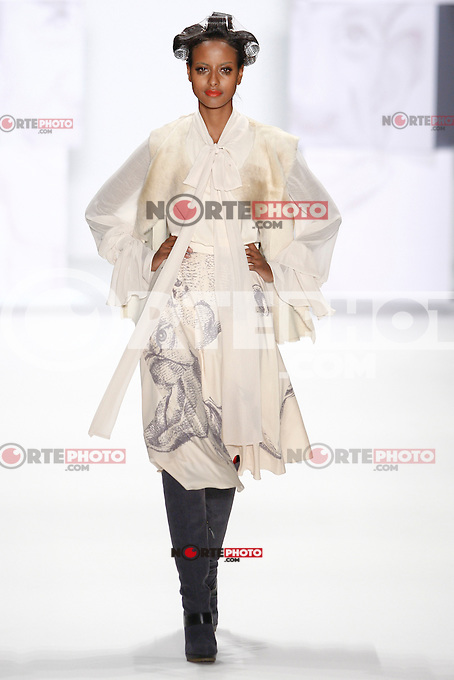 Model Sara Nuru walks the runway at the STEPHAN PELGER FASHION SHOW during the Mercedes-Benz Fashion Week autumn/winter 2012 Berlin at Brandenburg Gate in Berlin, Germany, 21.01.2012...Credit: Poslada/face to face /MediaPunch Inc.