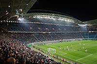 DFB Pokal 2011/12 2. Hauptrunde RasenBallsport Leipzig - FC Augsburg Der RB-Fanblock verfolgt das Spiel seiner Mannschaft.