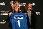 16 January 2009: Amy Rodriguez, with WPS Commissioner Tonya Antonucci, was selected with the first overall pick by the Boston Breakers. The 2009 inaugural Womens Pro Soccer (WPS) Draft was held at the Convention Center in St. Louis, Missouri in conjuction with the National Soccer Coaches Association of America's annual convention.