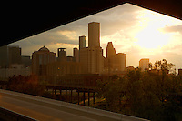 Stock photo of a sunset view of the Houston skyline from the northeast