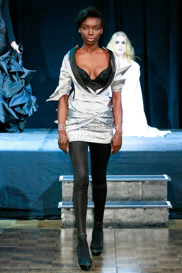 Model walks runway in an outfit from the &quot;Skeleton&quot; collection by Ema Klein, from the Academy of Fine Arts and Design in Bratislava, during Slovak Fashion Night 2012 in New York City May 11, 2012.