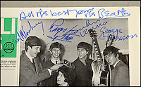 BNPS.co.uk (01202 558833)<br /> Pic: AdamPartridge/BNPS<br /> <br /> An old newspaper that John Lennon forged the autographs of the rest of the Beatles on is now tipped to sell for &pound;1,500.<br /> <br /> The late singer/songwriter, who was known as the joker of the band, faked the signatures of Paul McCartney, George Harrison and Ringo Starr on a photograph of the fledgling group.<br /> <br /> The image showed the young Fab Four crowning the 15-year-old Carnival Queen for the town of Northwich, Cheshire, for 1963. <br /> <br /> The item is now being sold in Liverpool.