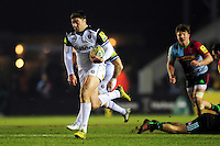 Matt Banahan of Bath Rugby goes on the attack. Aviva Premiership match, between Harlequins and Bath Rugby on March 11, 2016 at the Twickenham Stoop in London, England. Photo by: Patrick Khachfe / Onside Images