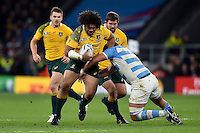 Tatafu Polota-Nau of Australia takes on the Argentina defence. Rugby World Cup Semi Final between Argentina v Australia on October 25, 2015 at Twickenham Stadium in London, England. Photo by: Patrick Khachfe / Onside Images