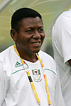 09 August 2008: Nigeria head coach Joseph Ladipo (NGA).  The women's Olympic soccer team of Germany defeated the women's Olympic soccer team of Nigeria 1-0 at Shenyang Olympic Sports Center Wulihe Stadium in Shenyang, China in a Group F round-robin match in the Women's Olympic Football competition.