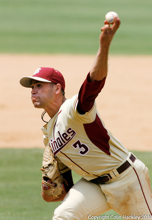 TALLAHASSEE, FL 6/13/10-FSU-VANDY BASE10 CH-Florida State's Sean Gilmartin throws against Vanderbilt during Super Regional action Sunday at Dick Howser Stadium in Tallahassee...COLIN HACKLEY PHOTO