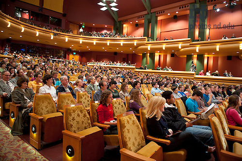 September 28, 2011; Audience members listen to the participants on stage during their discussion titled, &quot;The Conversation: Developing the Schools Our Children Deserve&quot; part of the 2011-12 Notre Dame Forum at the Leighton Concert Hall. Photo by Barbara Johnston/University of Notre Dame