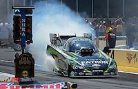 May 6, 2012; Commerce, GA, USA: NHRA funny car driver Alexis DeJoria during the Southern Nationals at Atlanta Dragway. Mandatory Credit: Mark J. Rebilas-