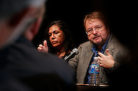 Authors Luis Alberto Urrea and Ana Castillo discuss their work during a panel on Hispanic writers at the sixth annual Wisconsin Book Festival.<br /> <br /> Client: Wisconsin Humanities Council<br /> &copy; Michael Forster Rothbart 2007-2010.<br /> www.mfrphoto.com <br /> 607-267-4893 o 607-432-5984<br /> 5 Draper St, Oneonta, NY 13820<br /> 86 Three Mile Pond Rd, Vassalboro, ME 04989<br /> info@mfrphoto.com<br /> Photo by: Michael Forster Rothbart<br /> Date:   10/2007    File#:  Canon 20D digital camera frame 17108