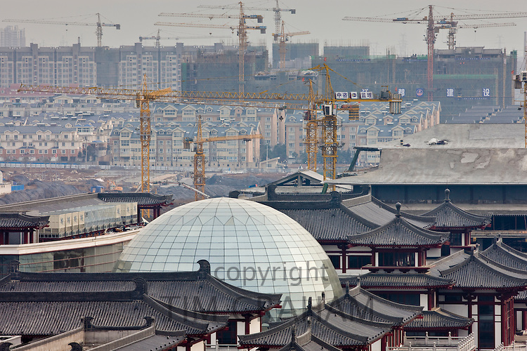 View of new and old architecture in Xian seen from the Dayan Pagoda, China