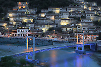 Houses of the Mangalem quarter at night, with the bridge over the Osum river, in Berat, South-Central Albania, capital of the District of Berat and the County of Berat. In July 2008, the old town (Mangalem district) was listed as a UNESCO World Heritage Site. Picture by Manuel Cohen