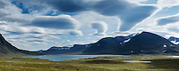 Lake Ahpparjavri and mountain landscape, near Alesjaure, Kungsleden trail, Lapland, Sweden