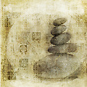 Stones stacked with Asian seals pattern overlaid. Photo based illustration.