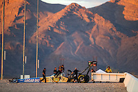 Oct 28, 2016; Las Vegas, NV, USA; NHRA top fuel driver Morgan Lucas climbs from his dragster as crew members arrive during qualifying for the Toyota Nationals at The Strip at Las Vegas Motor Speedway. Mandatory Credit: Mark J. Rebilas-USA TODAY Sports