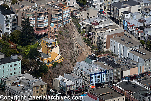 aerial photograph landslide Telegraph Hill San Francisco, California