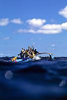 Outrigger canoe racing; Women's Molokai to Oahu Race, Ka Iwi Channel, Hawaii