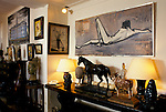 Bernard Buffet French artist expressionist painter (1928-1999) France Circa 1995. Interior home in Tourtour Provence France.