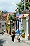 Colonial Houses, Cartagena de Indias, Bolivar Department,, Colombia, South America.