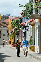 Colonial Houses, Cartagena de Indias, Bolivar Department,, Colombia, South America.