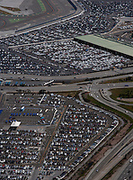 aerial photograph parked cars at San Francisco International airport SFO
