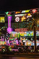 Las Vegas, Nevada.  Las Vegas Boulevard, The Strip, a Food Court just before Midnight.