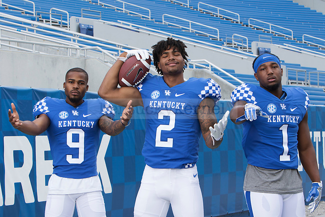 Members of the 2016-2017 UK Football Team goof around together on Friday, August 5, 2016 in Lexington, Ky. Photo by Hunter Mitchell | Staff