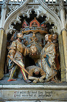 Gothic sculptures depicting scenes from the life of John the Baptist, Cathedral of Notre-Dame, Amiens, France
