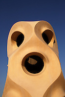 Chimney, Roof, La Pedrera (Casa Milà), Barcelona, Catalonia, Spain, built by Antoni Gaudí (Reus 1852 ? Barcelona 1926), 1906 - 1910, for  Milà Family, with Joan Beltran as a plaster and with Josep Maria Jujol as architect collaborator. One of the main Gaudi residential buildings. Picture by Manuel Cohen