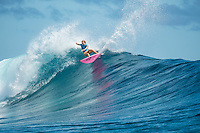 Namotu Island, Fiji (Tuesday, June 2, 2015) Bianca Buitendag (ZAF) - Action continued today at the fifth stop on the 2015 WSL Championship Tour (CT), the Fiji Women&rsquo;s Pro, with a day of high drama and high scores. The world&rsquo;s best female surfers posted four nine-point rides as competition ran through Rounds 2 and 3 in solid surf at Cloudbreak. <br />  <br /> Rookie Tatiana Weston-Webb (HAW) was the standout of the day, claiming both the highest heat total and single-wave score, while defending event winner Sally Fitzgibbons (AUS) suffered a perforated eardrum in the heavy conditions but still made it through to the Quarterfinals.<br />  <br /> Weston-Webb (HAW) had an impressive run of form, looking confident and at ease on her forehand in the sizable surf. She started with a convincing victory over Sage Erickson (USA) in Round 2, pulling into the wave of the day for a long, deep tube and earning a near-perfect 9.73 (out of a possible 10). The young Hawaiian went on to face Jeep Leaderboard No. 1 and two-time World Champion Carissa Moore (HAW) and Coco Ho (HAW) in Round 3 where another nine-point ride saw her take the top spot and a place in the Quarterfinals, sending her opponents to Round 4.<br /> <br /> The surf was in the 4'-6' range with light winds for most of the morning. A light onshore came up early afternoon and the swell became inconsistent.   Photo: joliphotos.com