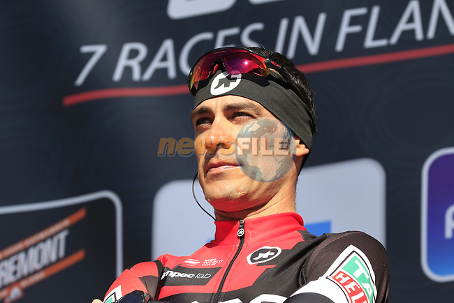 Manuel Quinziato (ITA) BMC Racing Team on stage before the start of Gent-Wevelgem in Flanders Fields 2017, running 249km from Denieze to Wevelgem, Flanders, Belgium. 26th March 2017.<br /> Picture: Eoin Clarke   Cyclefile<br /> <br /> <br /> All photos usage must carry mandatory copyright credit (&copy; Cyclefile   Eoin Clarke)