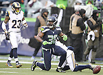 Seattle Seahawks running back Bryce Brown (36) gets up after gaining 30 yards against the St. Louis Rams at CenturyLink Field in Seattle, Washington on December 27, 2015.  The Rams beat the Seahawks 23-17.      ©2015. Jim Bryant Photo. All Rights Reserved