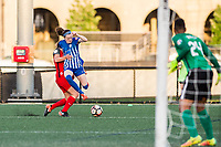 Boston, MA - Friday May 19, 2017: Mallory Weber and Rose Lavelle during a regular season National Women's Soccer League (NWSL) match between the Boston Breakers and the Portland Thorns FC at Jordan Field.