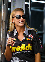Sep 18, 2016; Concord, NC, USA; NHRA top fuel driver Leah Pritchett during the Carolina Nationals at zMax Dragway. Mandatory Credit: Mark J. Rebilas-USA TODAY Sports