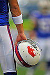 21 September 2008: Buffalo Bills' quarterback Trent Edwards grips his helmet prior to a game against the Oakland Raiders at Ralph Wilson Stadium in Orchard Park, NY. The Bills defeated the Raiders 24-23 to mark their first 3-0 start of the season since 1992...Mandatory Photo Credit: Ed Wolfstein Photo