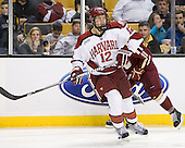 Brendan Rempel (Harvard - 12) - The Boston College Eagles defeated the Harvard University Crimson 4-1 in the opening round of the 2013 Beanpot tournament on Monday, February 4, 2013, at TD Garden in Boston, Massachusetts.
