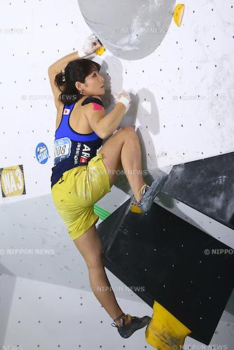 Yuka Kobayashi (JPN),<br /> APRIL 23, 2016 - Sports Climbing : <br /> IFSC Climbing World Cup - Bouldering Kazo 2016 <br /> Women's Qualification <br /> at Kazo Civic Gymnasium, Saitama, Japan. <br /> (Photo by Shingo Ito/AFLO SPORT)