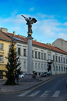 The Angel of Uzupis monument in artistic neighborhood of Vilnius, Lithuania
