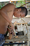 Rogen Pesidas lives on Bayas, a small island in the Philippines municipality of Estancia, in Iloilo Province. Blind in one eye, he builds a new fishing boat to replace the one that was destroyed by Typhoon Haiyan, known locally as Yolanda, in November 2013.