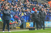 Bolton Wanderers manager Phil Parkinson and assistant Steve Parkin watch on during the first half<br /> <br /> Photographer Alex Dodd/CameraSport<br /> <br /> The EFL Sky Bet League One - Bolton Wanderers v Northampton Town - Saturday 18th March 2017 - Macron Stadium - Bolton<br /> <br /> World Copyright &copy; 2017 CameraSport. All rights reserved. 43 Linden Ave. Countesthorpe. Leicester. England. LE8 5PG - Tel: +44 (0) 116 277 4147 - admin@camerasport.com - www.camerasport.com