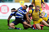Matt Banahan of Bath Rugby touches the ball down over the try-line. Aviva Premiership match, between Bath Rugby and Worcester Warriors on September 17, 2016 at the Recreation Ground in Bath, England. Photo by: Patrick Khachfe / Onside Images