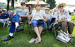 ROXBURY CT. 11 July 2015-071115SV05-From left, Bob and Monique Mastrantuone of Waterbury along with Michael Danon and Elaine Freeman both of Kent listen to music at the annual Pickin' 'N' Fiddlin' fundraiser at Hurlburt Park in Roxbury Saturday.<br /> Steven Valenti Republican-American