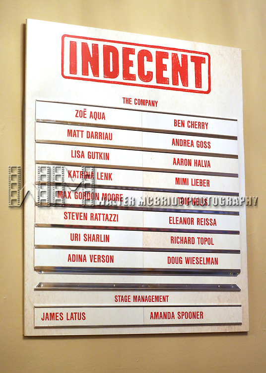 Lobby cast board for the Broadway Opening Night Performance for 'Indecent' at The Cort Theatre on April 18, 2017 in New York City.