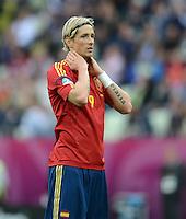 FUSSBALL  EUROPAMEISTERSCHAFT 2012   VORRUNDE Spanien - Italien            10.06.2012 Fernando Torres (Spanien) enttaeuscht