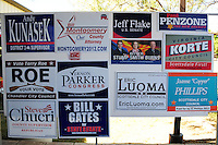 Tempe, Arizona. October 13, 2012 - Campaign materials like these posters of various Arizona candidates were available at a traditional political rally held in Tempe Arizona. The non-partisan rally promoted political participation in the upcoming November 6 election. Hundreds of Arizona registered voters participated in a political rally where candidates for the US Senate, House of Representatives, state legislature, Maricopa County and other public offices pitched for votes for the upcoming general election. Photo by Eduardo Barraza © 2012