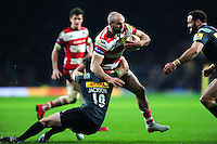 Charlie Sharples of Gloucester Rugby takes on the Harlequins defence. Aviva Premiership match, between Harlequins and Gloucester Rugby on December 27, 2016 at Twickenham Stadium in London, England. Photo by: Patrick Khachfe / JMP