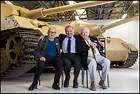BNPS.co.uk (01202 558833)<br /> Pic: PhilYeomans/BNPS<br /> <br /> (L to R) Waldemar Pliska, Ernest Slarks and Wilhelm Fischer.<br /> <br /> This is the poignant moment two German Tiger tank drivers and their British counterparts met for the first time 72 years after they fought on opposite sides in the Second World War.<br /> <br /> Wilhelm Fischer and Waldemar Pliska helped instill terror in British troops by manning the fearsome fighting machines and unleashing hell with their huge 88mm guns.<br /> <br /> Two of the enemy with first hand experiences of the heavily armoured Tigers were British tank men Ernest Slarks and Dr Ken Tout.<br /> <br /> Now aged in their 90s the four old foes became friends when they assembled for the launch of an historic exhibition at the Tank Museum in Bovington, Dorset.