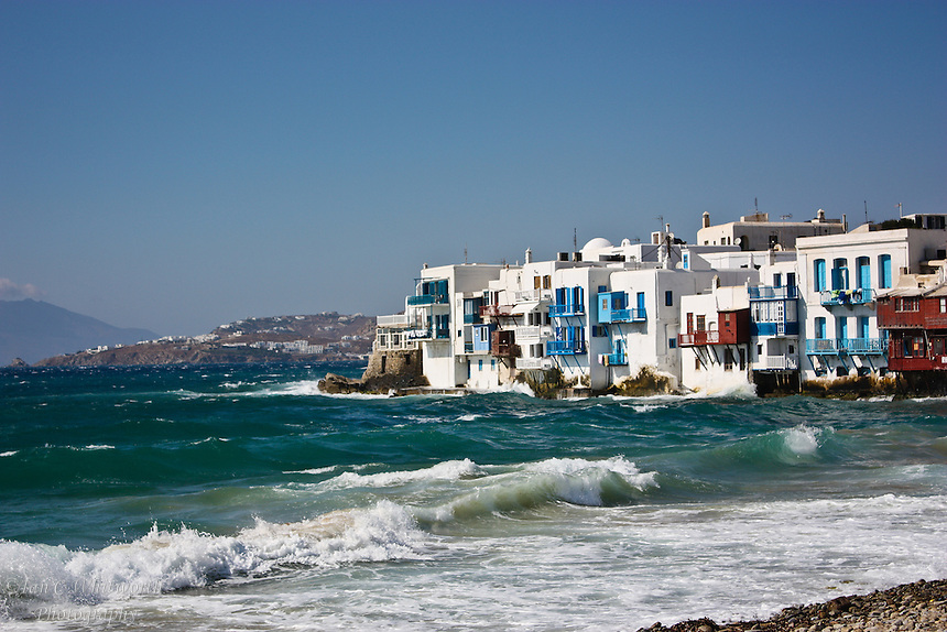 A view across the waves at Little Venice in Mykonos