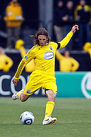 8 MAY 2010:  Frankie Hejduk of the Columbus Crew(2) during MLS soccer game between New England Revolution vs Columbus Crew at Crew Stadium in Columbus, Ohio on May 8, 2010. The Columbus defeated New England 3-2.