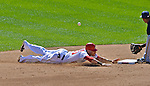 24 September 2012: Washington Nationals shortstop Ian Desmond steals second in the fifth inning against the Milwaukee Brewers at Nationals Park in Washington, DC. The Nationals defeated the Brewers 12-2 in the final game of their 4-game series, splitting the series at two. Mandatory Credit: Ed Wolfstein Photo