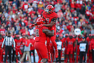 College Park, MD - November 12, 2016: Maryland Terrapins defensive lineman Cavon Walker (18) and Maryland Terrapins defensive back JC Jackson (7) celebrate after a sack during game between Ohio St. and Maryland at  Capital One Field at Maryland Stadium in College Park, MD.  (Photo by Elliott Brown/Media Images International)